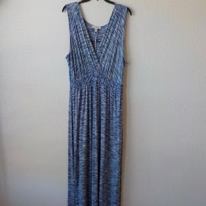 Spense Maxi Dress XL Blue White Sleeveless Soft